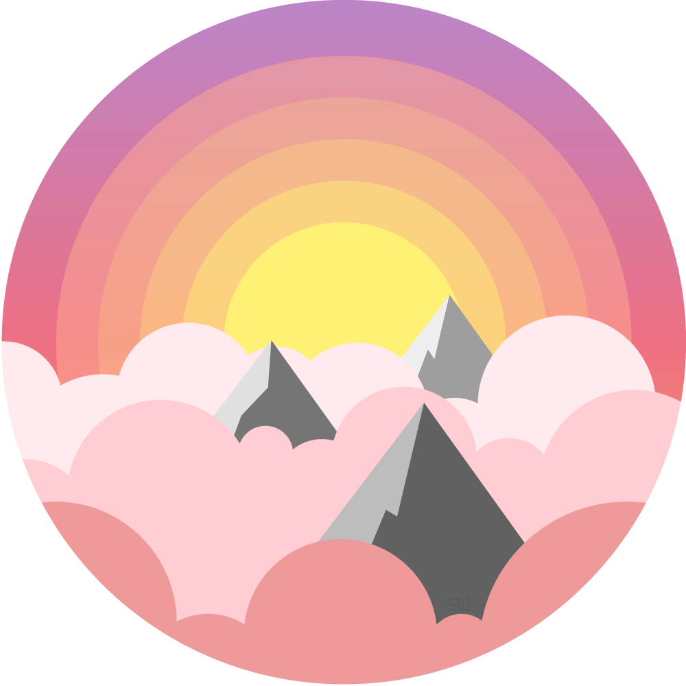 vector illustration of the tops of mountains poking through pink and purple clouds with the sun shining behind enclosed in a circle