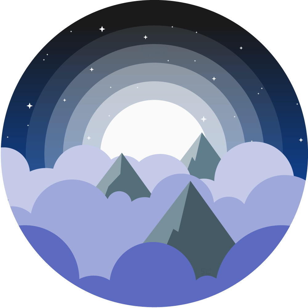 vector illustration of the tops of mountains poking through blue and purple clouds with the moon shining behind and stars in the sky enclosed in a circle
