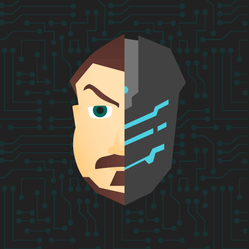 vector illustration with the left side a man's bearded face and the right side a robot face