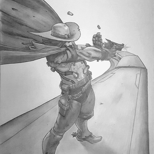 graphite drawing of man with gun standing on top of train