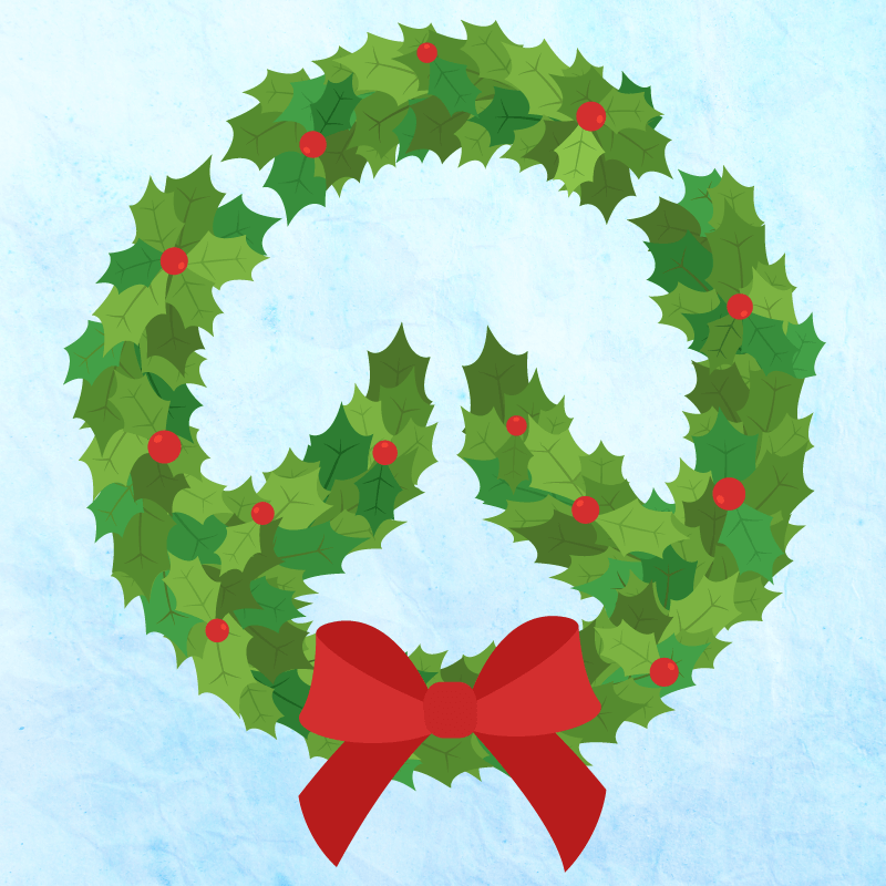 Overwatch logo made out of a Christmas holiday wreath