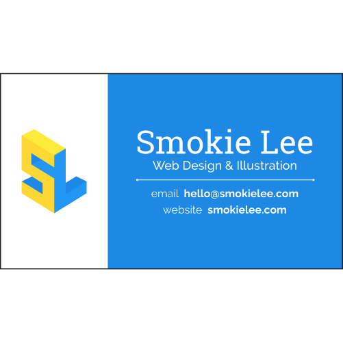 business card for Smokie Lee, web designer and illustrator