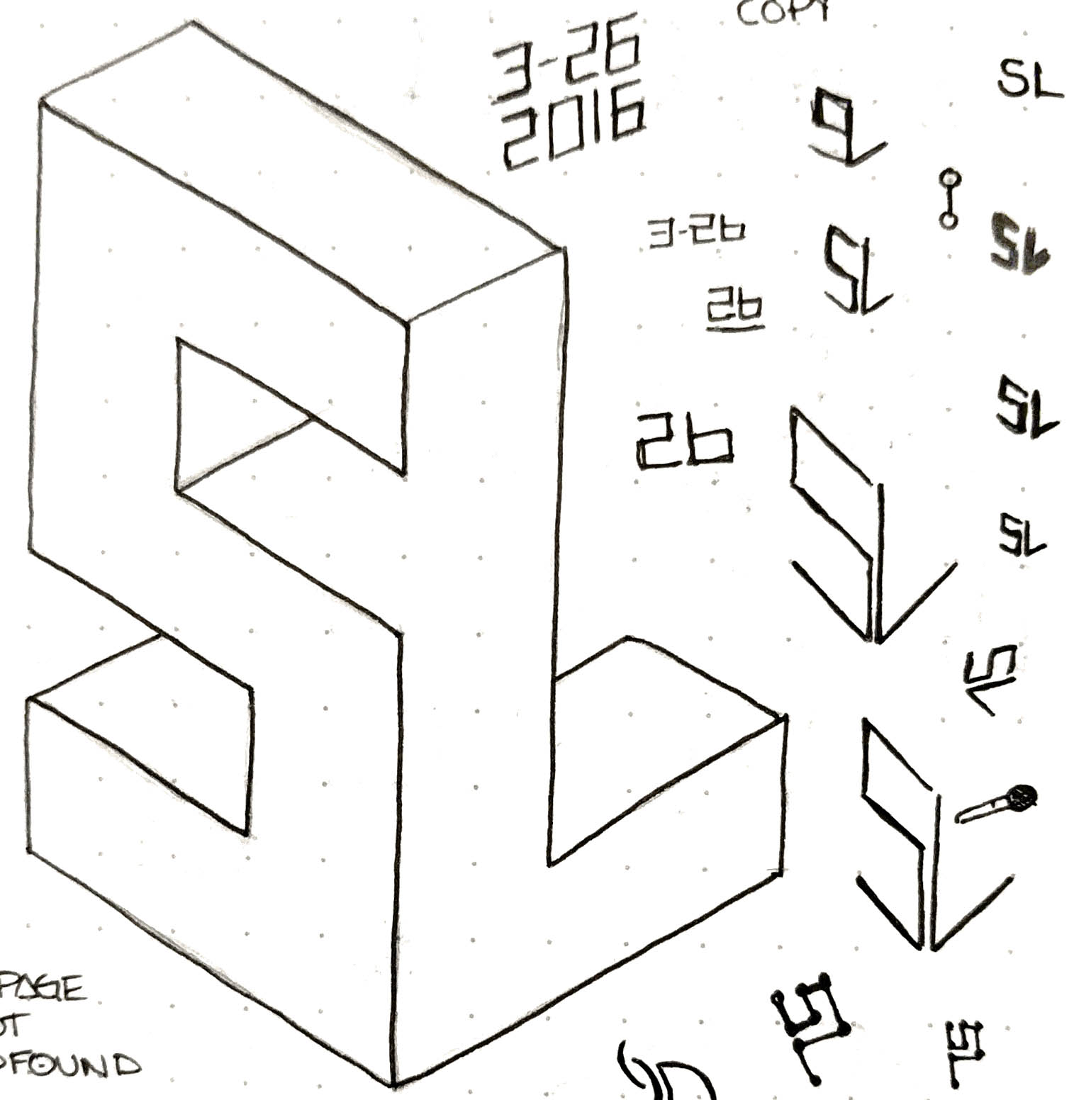 sketches of a logo with 's' and 'l' in a block formation