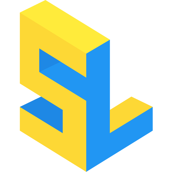 blue and yellow logo with the letters 'S' and 'L' in a block formation